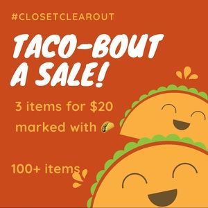 3 for $20 Sale! All items marked with 🌮